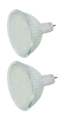 2 x MR 16 Bulb LED 10 Chip Cool White 150 Lumens  3 Watt High Quality LED Chips