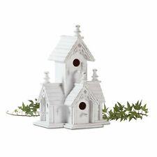 Distressed Shabby White Victorian Wood Decorative Birdhouse Garden Statue 32347