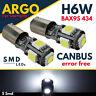 H6W LED SMD 433 434 BAX9S BAYONET CAR SIDE LIGHT WHITE BULBS ERROR FREE CANBUS