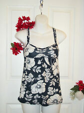 Abercrombie & Fitch XS Babydoll Top Navy Blue White Floral Spaghetti Straps NWT