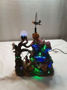 Lemax? Animated & lighted. Spooky Halloween House. Flying witch.