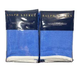 Ralph Lauren Set Of 2 Georgica Branford Euro Pillow Sham Blue White Linen $370