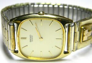 mens Seiko 10k Solid Gold Letter T Emblem 2 Real Sapphire Rectangle dress watch