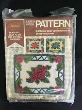 Vintage Malina Latch Hook Canvas Pattern Rose Trellis 20 x 27