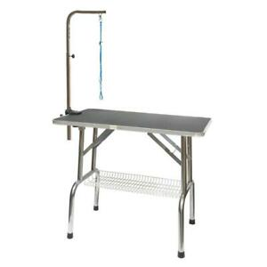 Go Pet Club Heavy Duty Stainless Steel Dog Grooming Table 30 in., Black