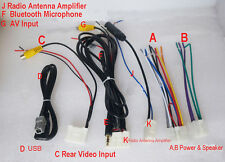 Set 6 Wiring Harness Radio CD USB AUX AV Bluetooth For Toyota RAV4 Corolla Prado