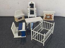 Alte Puppenstuben Möbel 6Teile 50/60er Jahre Tisch,Bett,Spiegel,Kamine,Schulbank