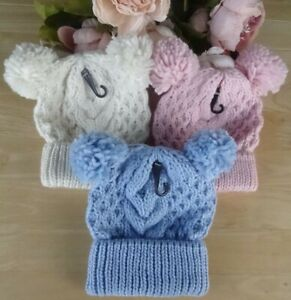 Baby Boy Girl Pink Blue Cream Cable Chunky Knit Crochet Pom Winter Hat 6-12-18m
