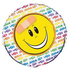 Get Well Soon Smiley Face with Plaster Foil Helium Balloon 45.7cm
