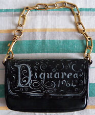 DSQUARED 1964 Black Small Leather Evening Bag Clutch Gold Tone Chain dsquared2