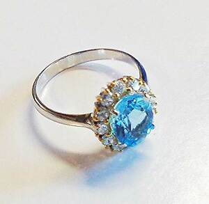 Gorgeous London Blue Topaz Silver Ring White Gold Plated 100% Natural REAL 6.5