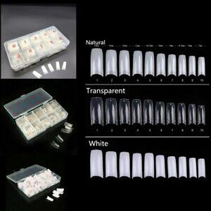 500Pcs/Box Natural French Acrylic False Nail Tips Art 10 Different Sizes White