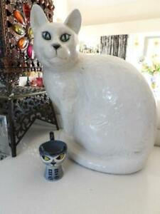 LARGE Fireside White Porcelain CAT - Life Sized H34cm - Made In Italy