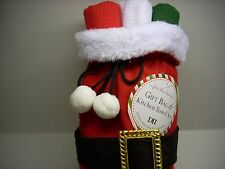 Christmas Santa Belt Gift Bag/Kitchen Towel Set Hostess/Teacher Gift New W/Tags