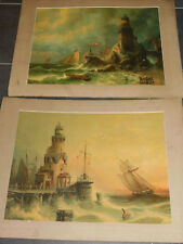 LOT 2 Albert Bredow ANCIEN TABLEAU paysages MARINS bateaux SAXONY phare MER NORD
