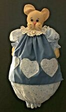 Country Kitchen Theme Plastic/Grocery Bag Holder Kitty Cat blue floral dress