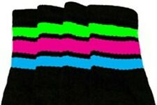"""22"""" KNEE HIGH BLACK tube socks w/ N.GREEN/H.PINK/B.BLUEstripes style 1 (22-119)"""