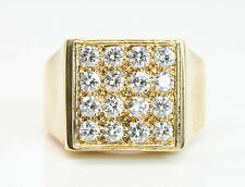 18K Solid Yellow Gold 1.25 Total Carat Weight Men's Diamond Ring
