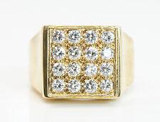 18K Solid Yellow Gold 1.25 Total Carat Weight Men's Diamond Ring