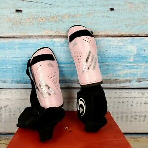 Adidas Kids Pink Shin Guards Protect Your Ankles In Your Soccer Games USA Seller