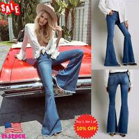 Womens Skinny Flare Denim Jeans Bell Bottom Stretch High Waist Pants Trousers