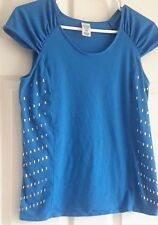 Women's Blue Pullover Top w/ Bling on the Sides~Size: M~60% Cotton, 40% Poly