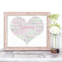 Personalised HEART Word Art Print Gift Mum Nanna Godmother, Sister, Mother's Day