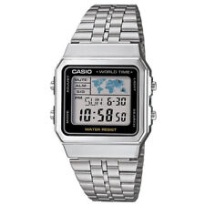 Casio Mens Classic Digital Wrist Watch Silver Stainless Steel Band World Time