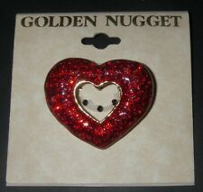Shaped Red Sparkling 1½� w Valentine Jewelry Brooch Pin Golden Nugget Heart