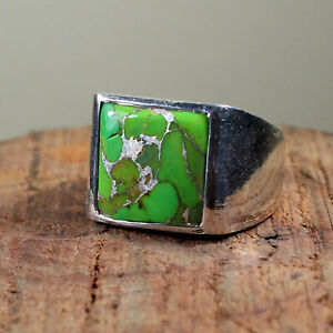 925 Sterling Silver Overlay Plated Green Turquoise Gemstone Wedding Mens Ring
