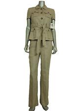NWD Anne Klein Women's Petite Belted Pant Suit 4P Blazer w/ 2P Pants Khaki
