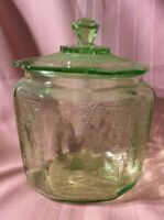 Old Vintage 30s Princess Green Anchor Hocking Depression Glass Cookie Jar Lid