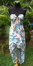 LE FEMME Size 4 Pastel Watercolor Print Strapless Bodice High-Low Flowy Dress