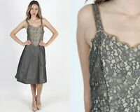 Vintage 50s Grey Lace Illusion Slip Floral Nightgown Bridal Negligee Midi Mini