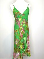 Party Green Silk Floral Sleeveless Peasant Dress Size 10