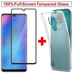 MOTO E7 Case Clear Cover + Tempered Glass Screen Protector Film For MOTO E7