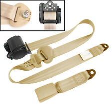 Automatic Beige 3 Point Retractable Safety Straps Car Auto Seat Belt Buckle Kits