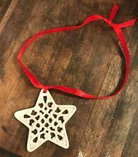 Lenox Charms Pierced Winter White Star Christmas Tree Ornament On Red Ribbon
