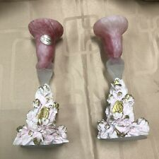 MURANO GLASS PINK PAIR CANDLE HOLDERS HAND MADE IN ITALY