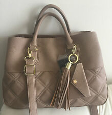 Steve Madden Crossbody Taupe Beige Quilt  Handbag Tote Purse Faux Leather NEW