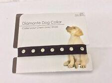 Adjustable Black Velvet Diamante Dog Puppy Collar 20cm to 40cm