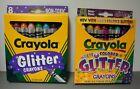 2 different boxes of Crayola Glitter crayons - Glitter 1994 & Multi Glitter 1997