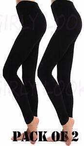 Ladies Pack of 2 Stretchy Skinny Jeggings Leggings Black Thin Leggings