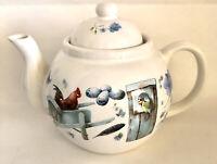 Marjolein Bastin 1995 Hallmark Teapot Blue Skies Garden Flowers Birds Butterfly