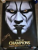 WWE 2015 Night Of Champions Original Poster STING SIGNED PROOF Autograph 27x40