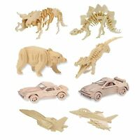 3D Mini Natural Wooden Puzzle Plane Car Animal Dinosaur DIY Model
