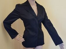 United Colors of Benetton Women's Black Blazer Jacket 42 Fitted Stretch Sheen