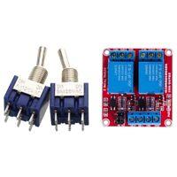 2 Pcs Blue Mini DPDT ON/ON Toggle Switchs 6 Terminals & 1 Pcs DC 24V 2 Chan D3P6