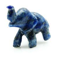 Blue Lapis Lazuli Stone Carved Small Elephant Figurine Statue Reiki Table Decor