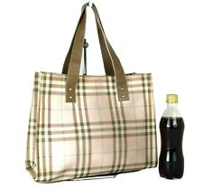Auth Burberry London Nova Check Canvas & Leather Tote Hand Bag Purse Italy Used